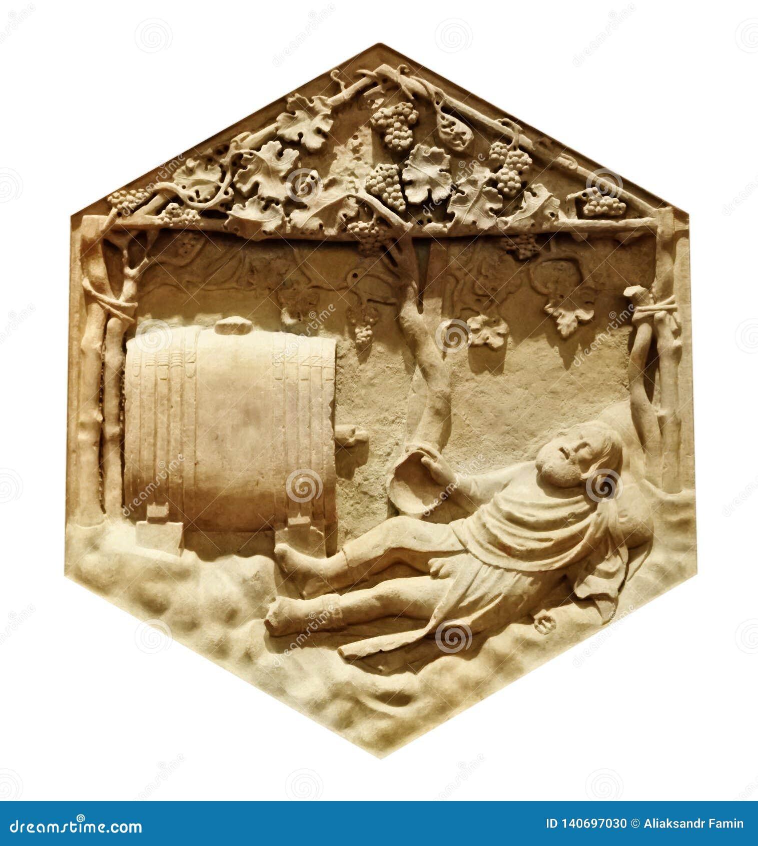 Dronkenschap van Noah Andrea Pisano Bijbels verhaal