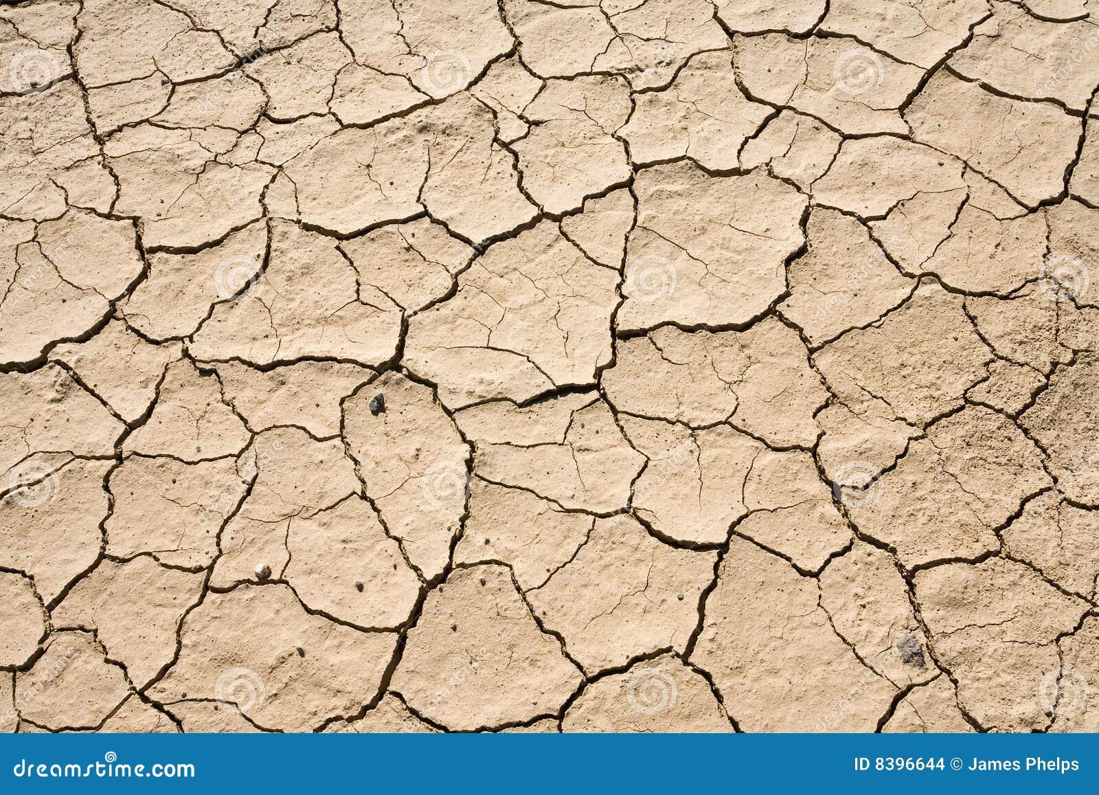 Droog Modder Gebarsten van de Grond van de Woestijn Patroon Als achtergrond