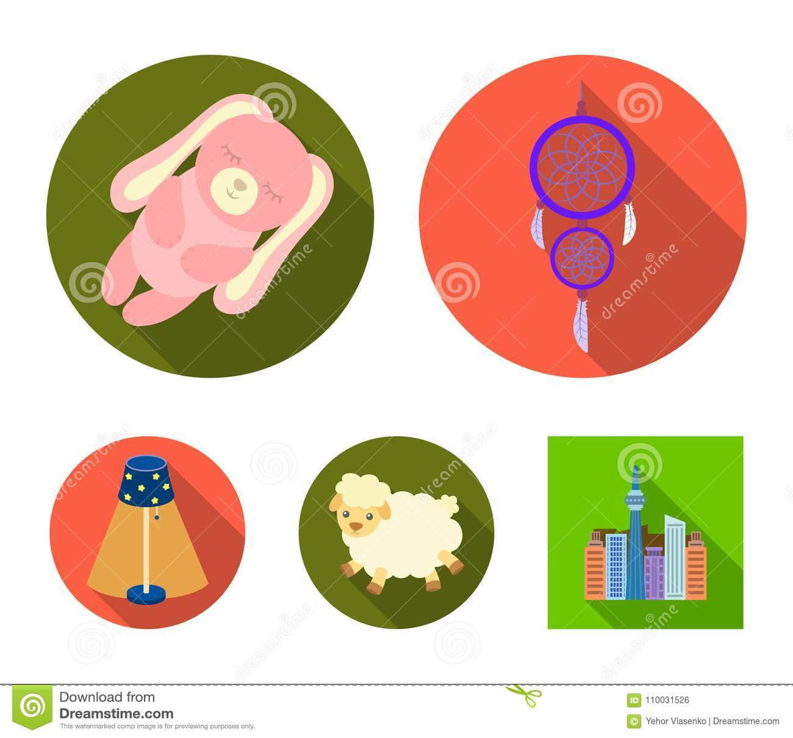 Droomvanger, zacht stuk speelgoed schapen en konijn, staande lamp Rust en slaap vastgestelde inzamelingspictogrammen in vlak stij