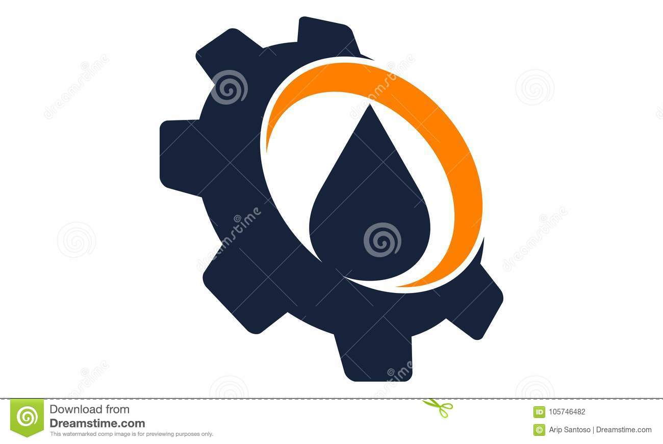 drop oil water with gear stock vector illustration of drop 105746482