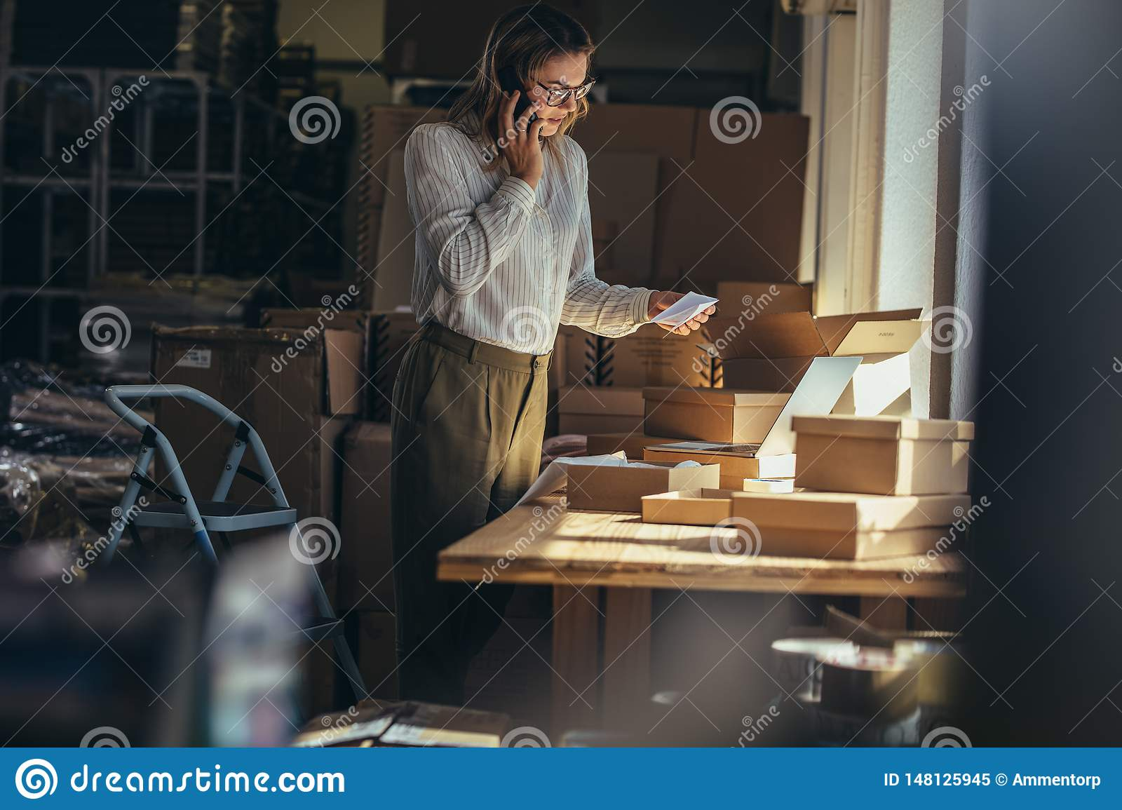 Woman confirming the order on phone
