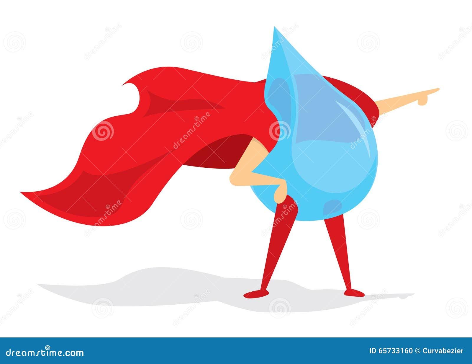 Drop Of Water Super Hero With Cape Stock Vector Image