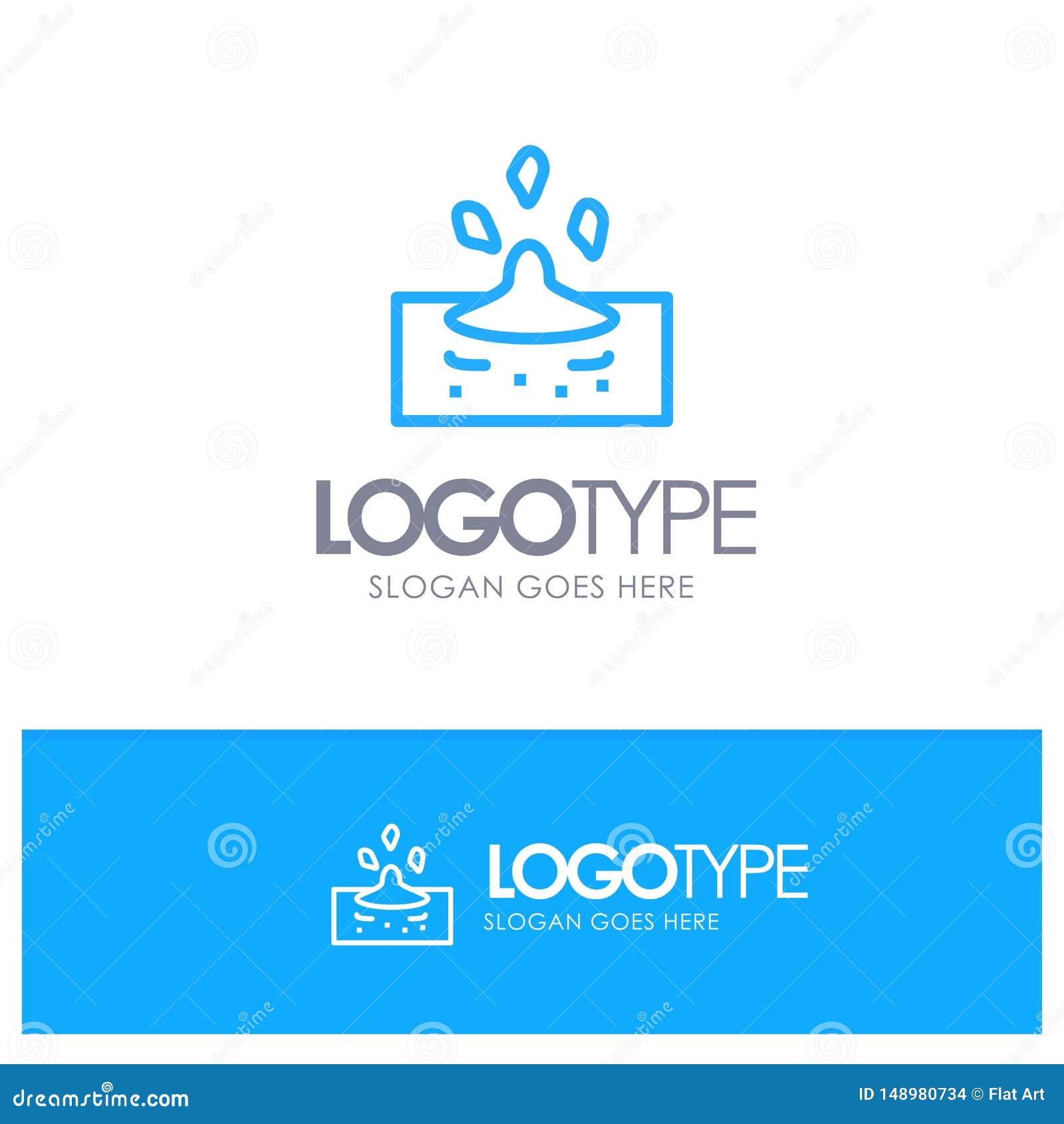 Droppe regn som är regnigt, blå översikt Logo Place för vatten för Tagline