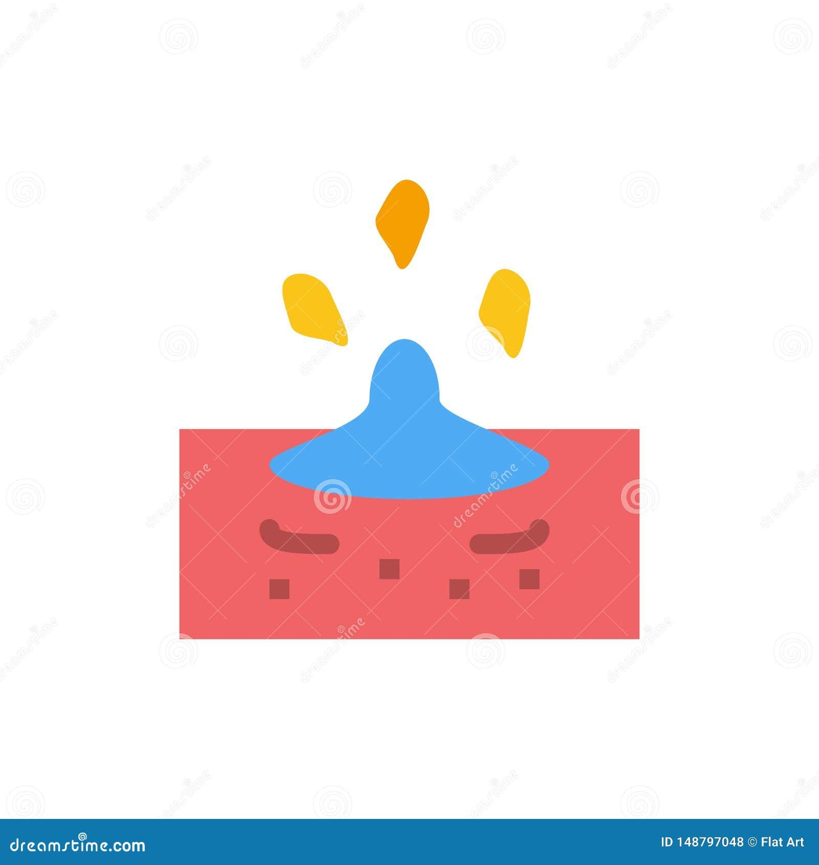Droppe regn som är regnigt, plan färgsymbol för vatten Mall för vektorsymbolsbaner