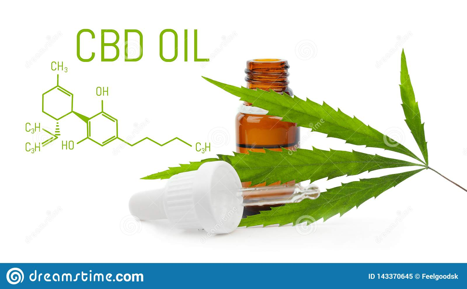 Dropper with CBD oil. Cannabis cbd bottle isolated. Hemp leaf. Medical marijuana concept