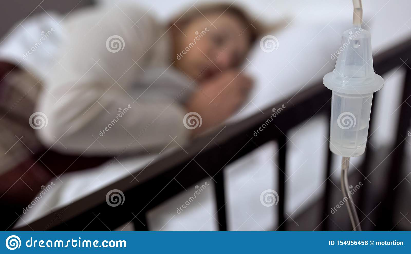 Dropper Close-up, Sick Woman Sleeping In Hospital Bed On