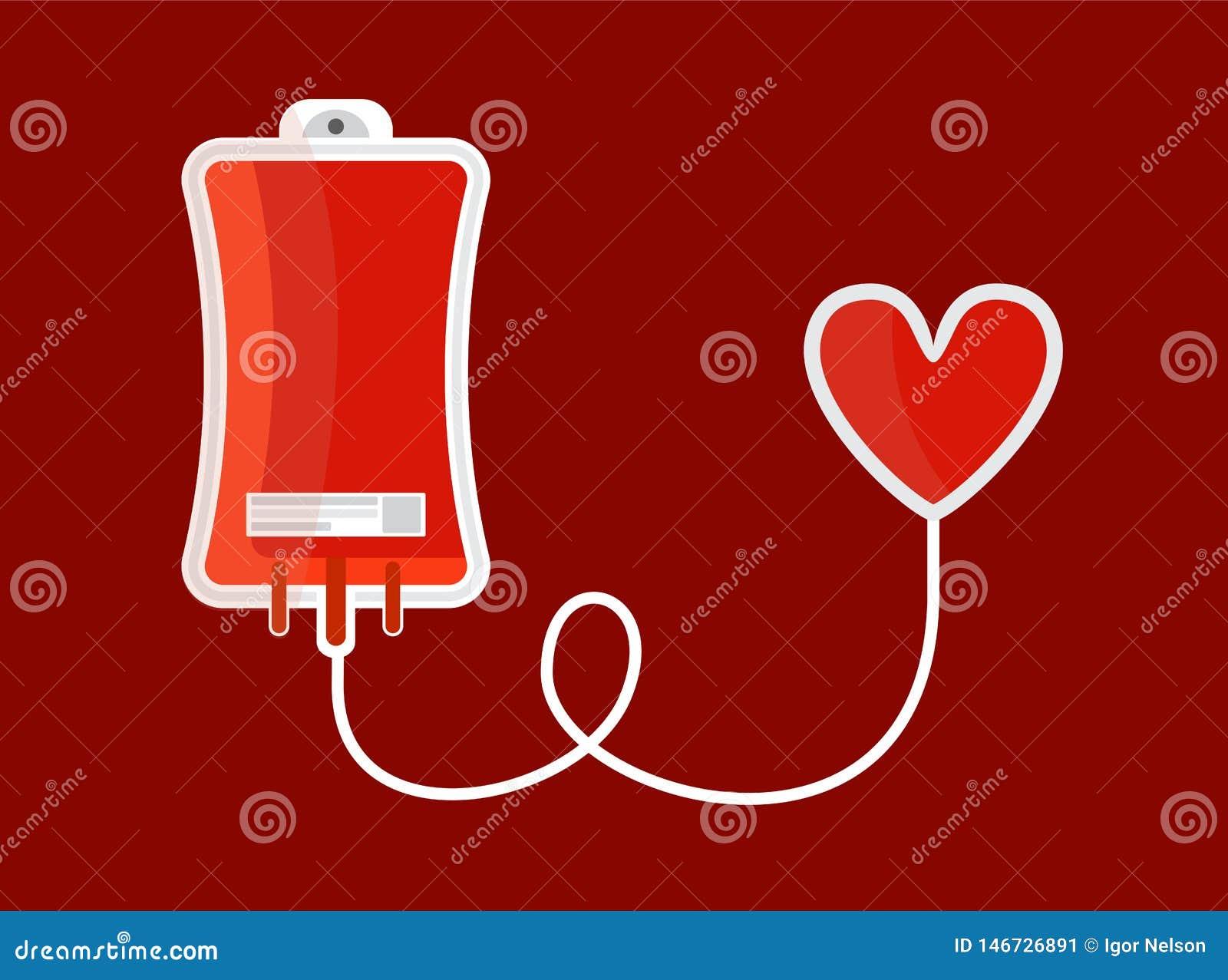Droppglass med hjärta Illustration f?r begrepp f?r bloddonation Plan stil vektor