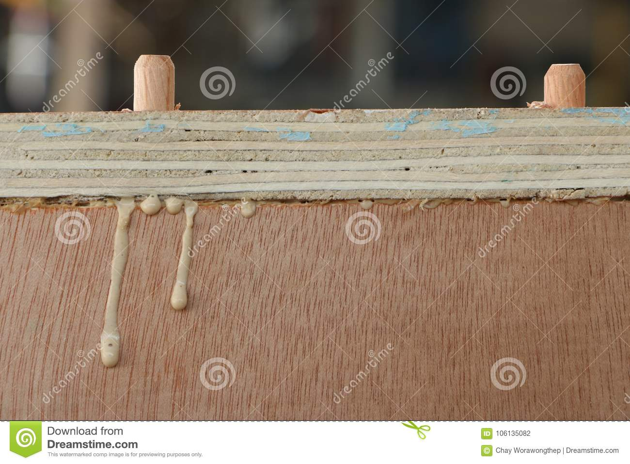 Drops Of Glue While Assembling A New Wooden Furniture Stock Photo Image 106135082