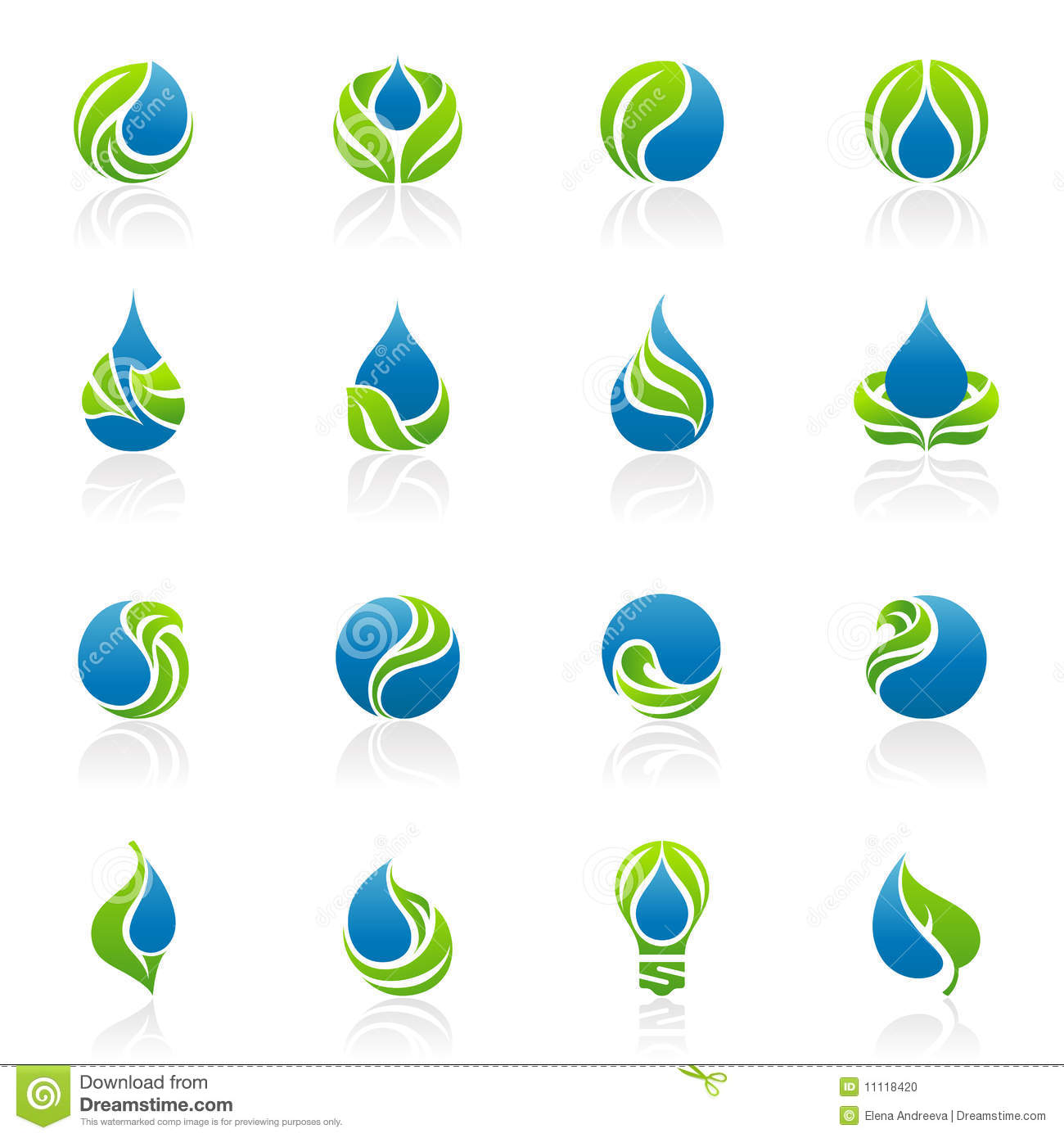 Drops and leaves. Vector logo template set.