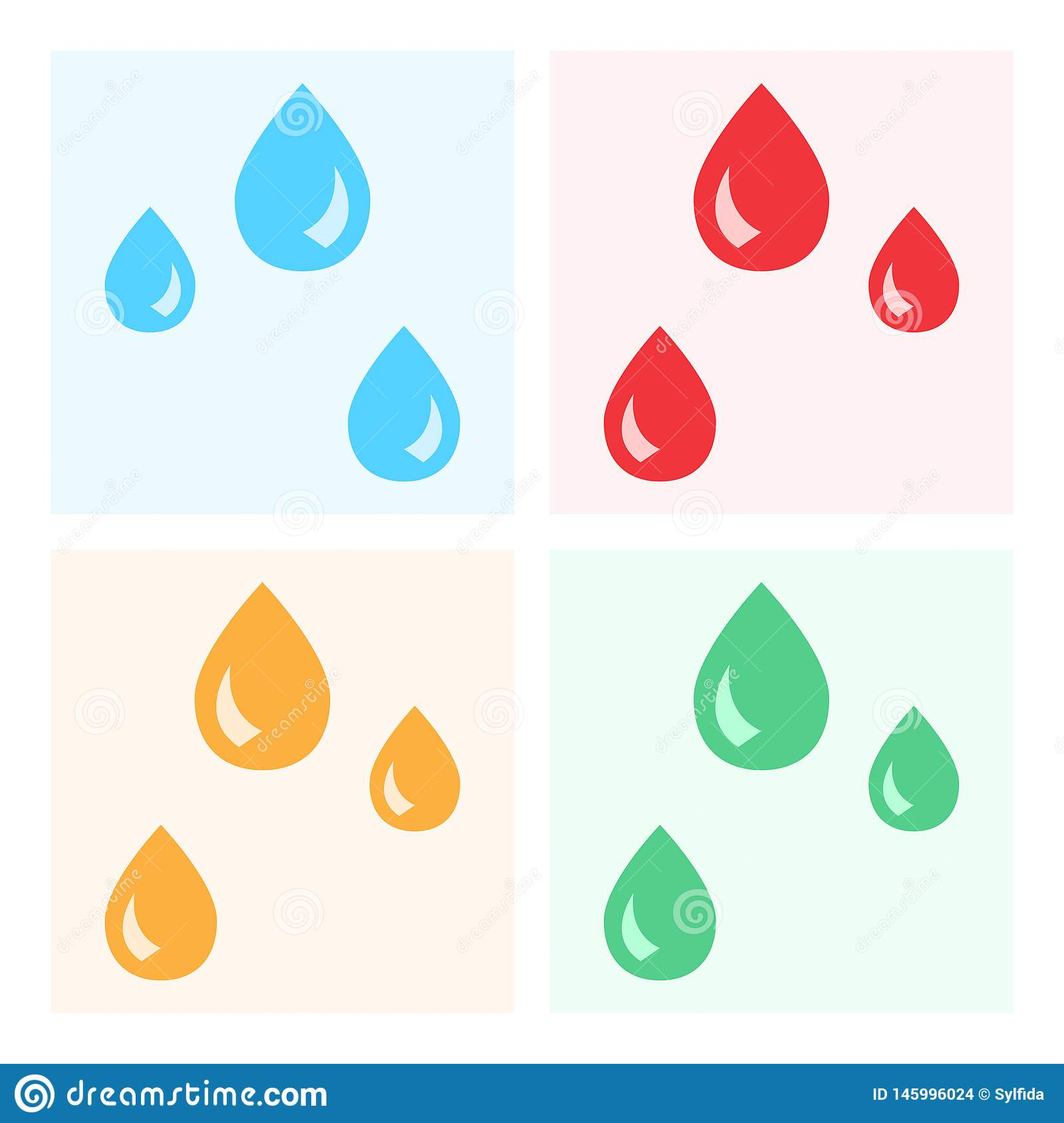 Drops set icons on colorful background. Vector