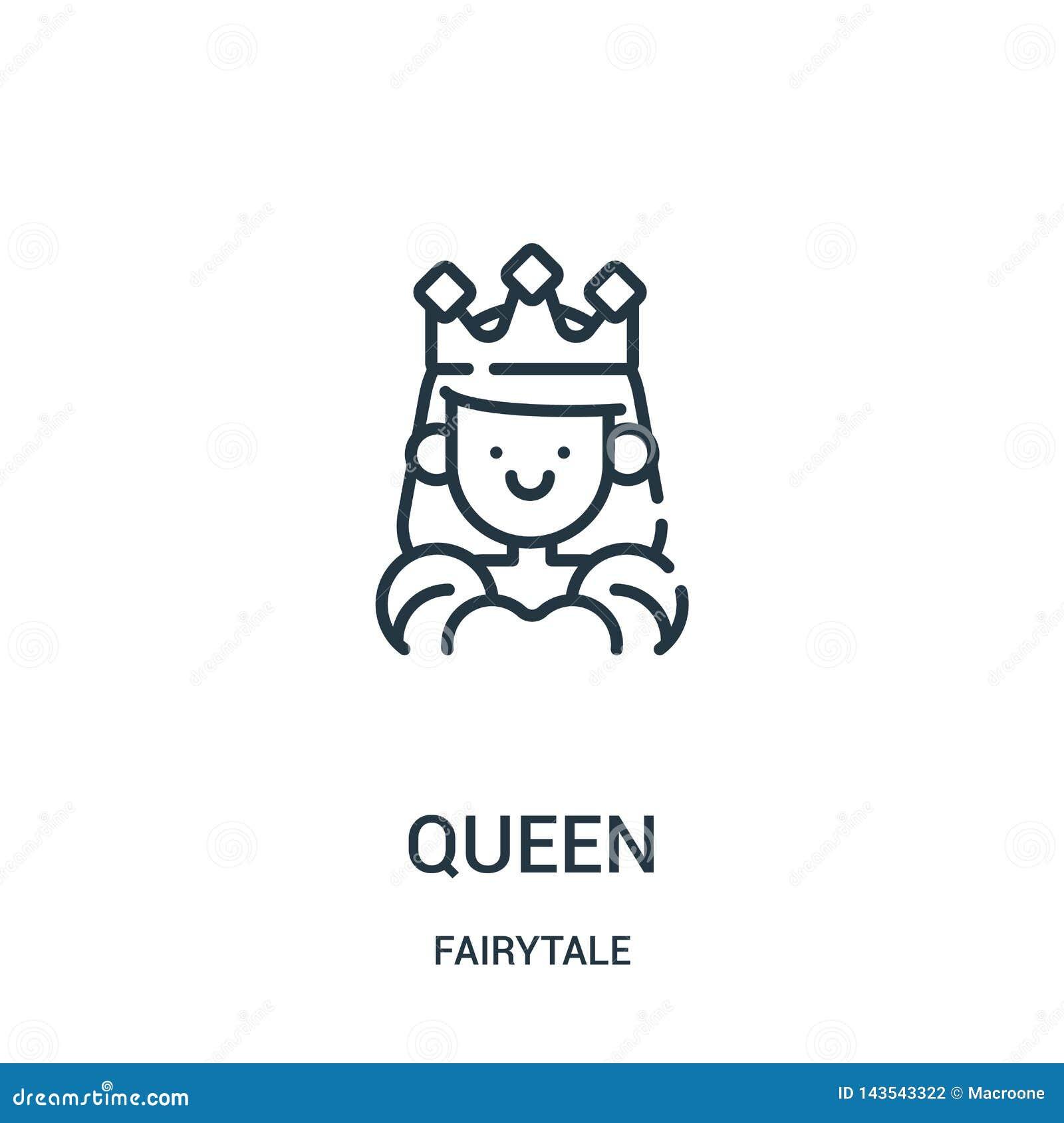 Drottningsymbolsvektor fr?n sagasamling Tunn linje illustration f?r vektor f?r drottning?versiktssymbol
