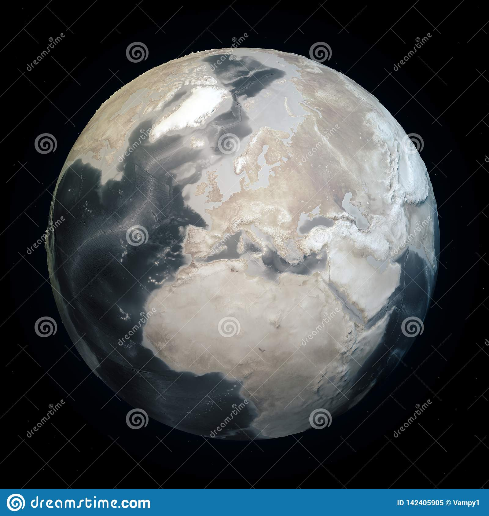 Drought in the world, dry planet earth. Climate change land without water. Seabed bathymetry with reliefs. Global warming
