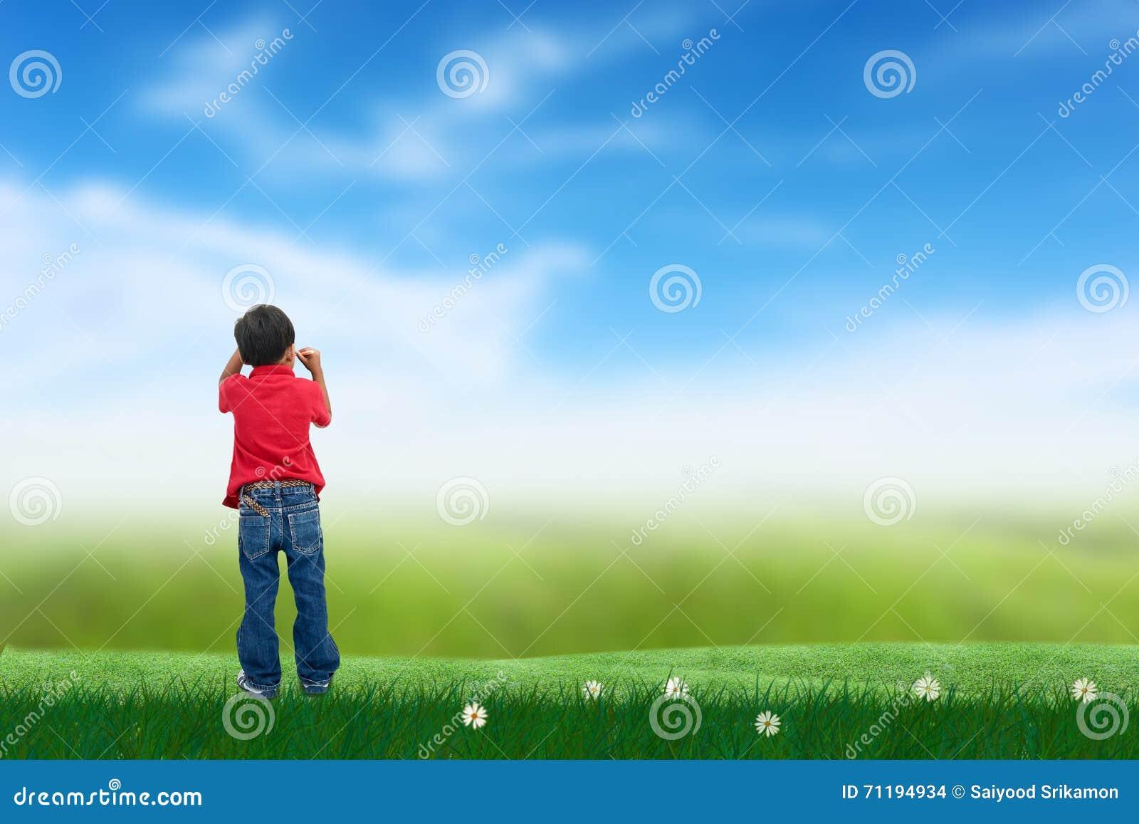 Drowing Himmel des Jungen