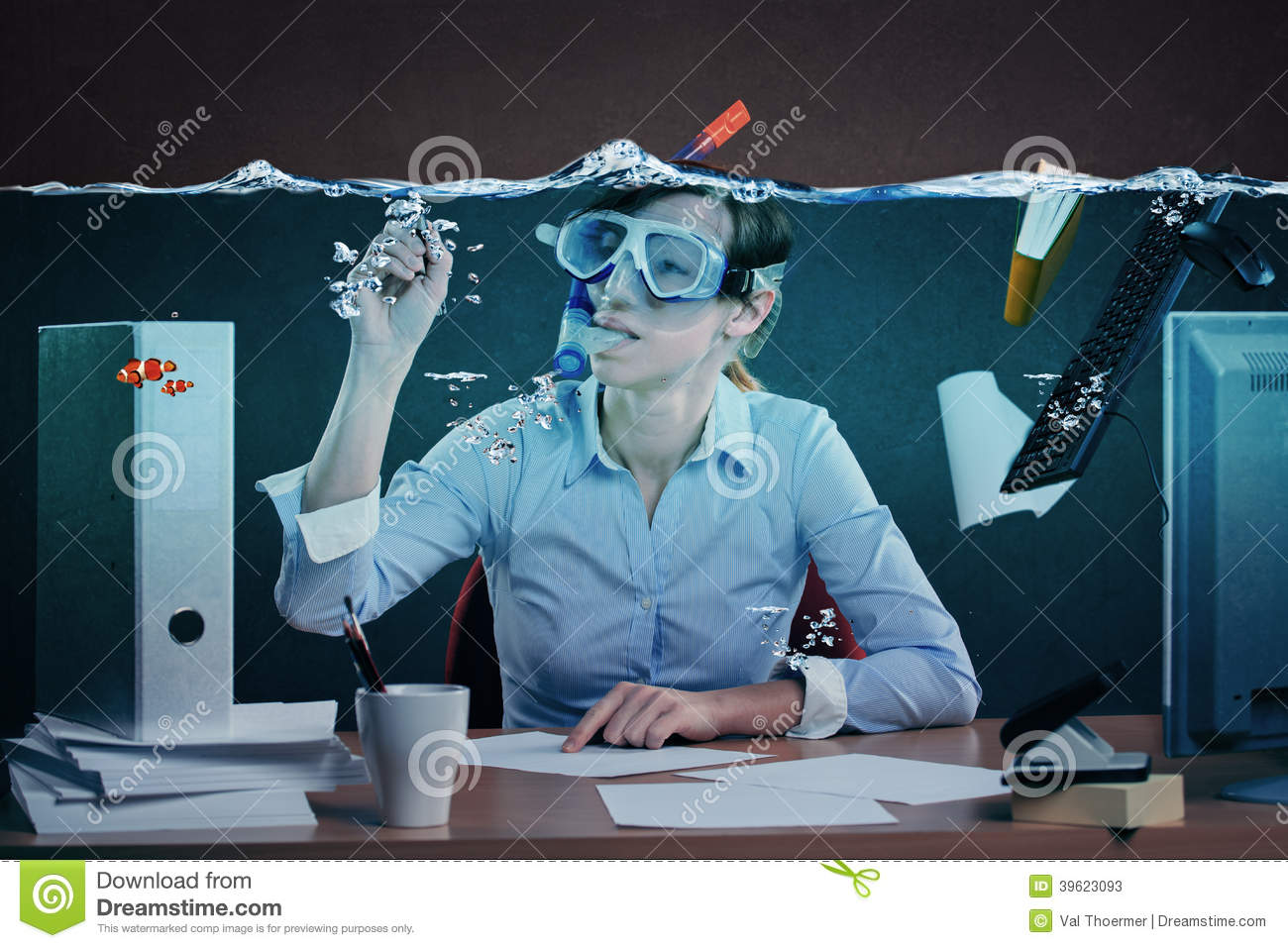 Drowning In Job Stock Photo Image 39623093