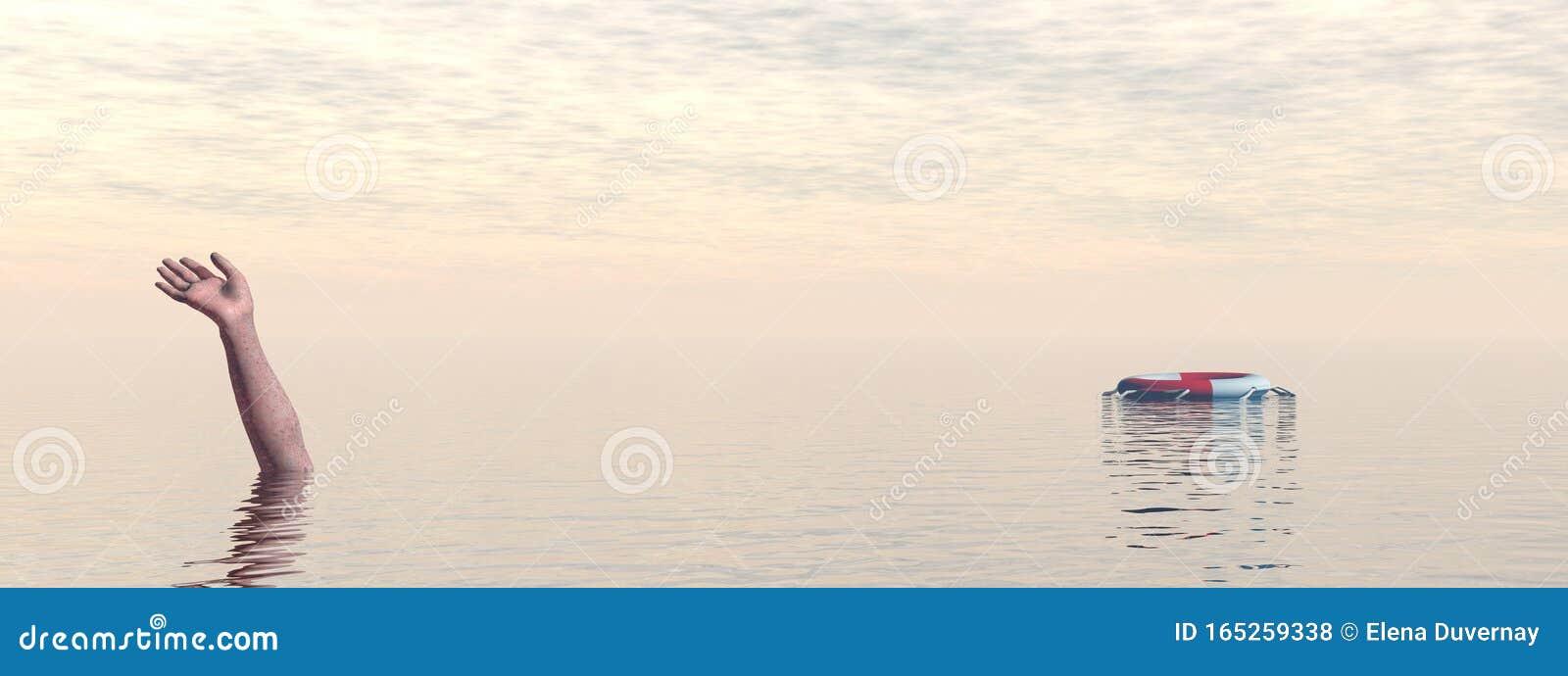 Drowning man`s hand in sea or ocean - 3D render