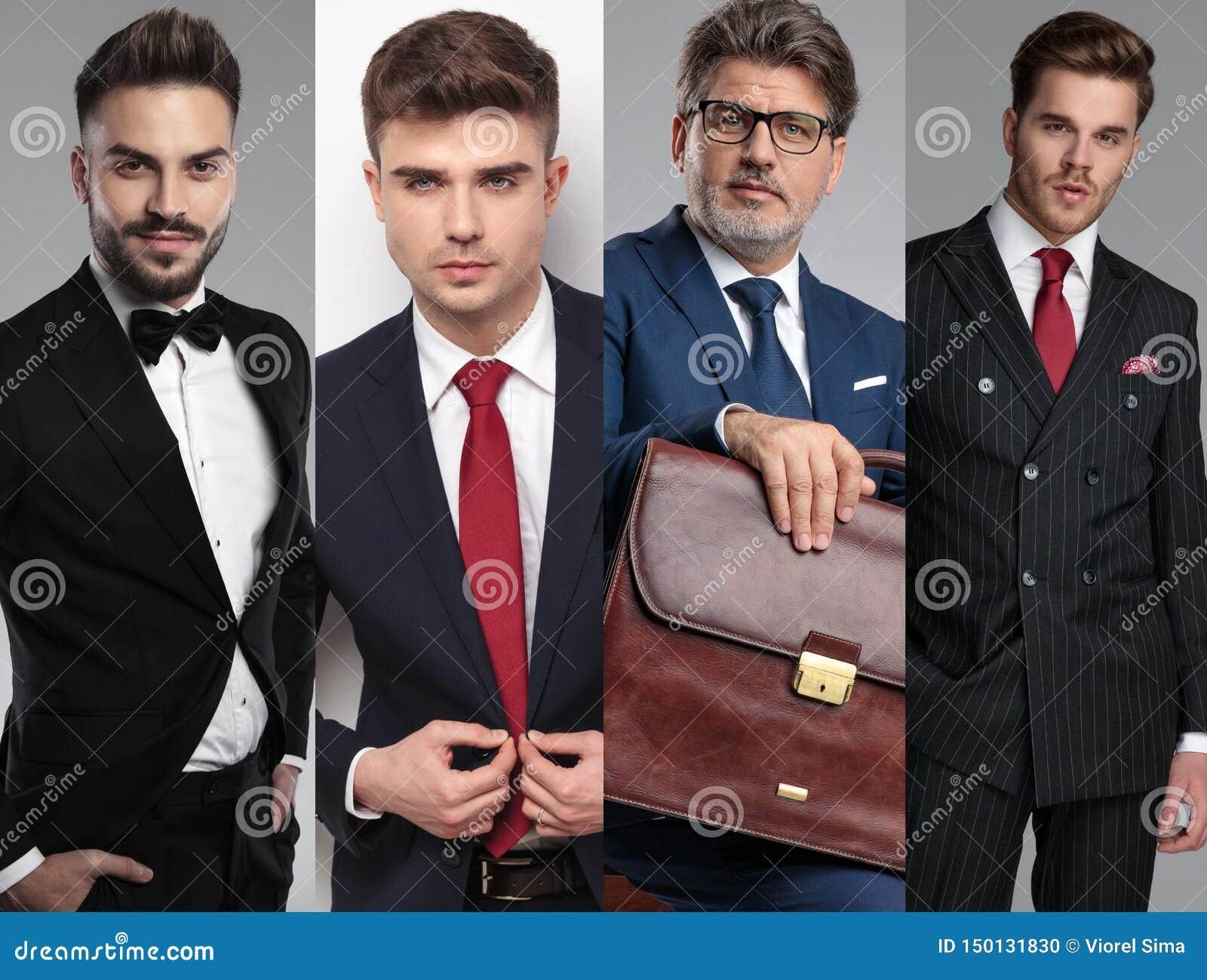 Drużyna cztery atrakcyjnego mężczyzny pozuje w kolażu wizerunku