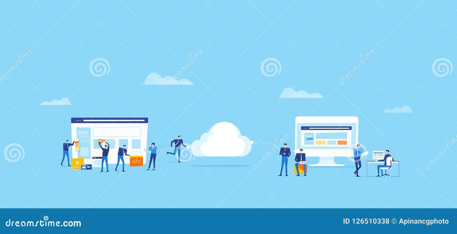 Drużynowy biznes rozwija aplikację sieciową i projektuje i upload łączy chmurnieć dla online użytkownika