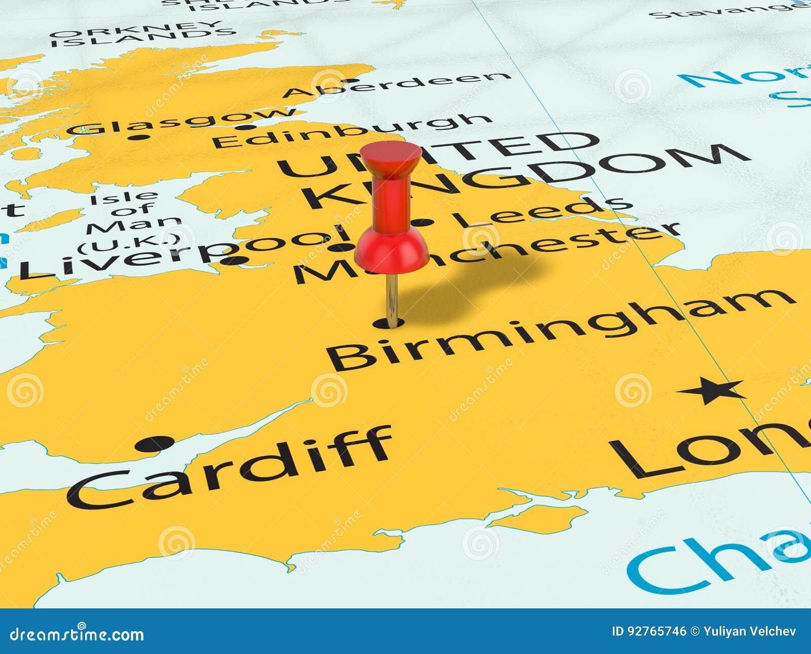 Birmingham Karte.Druckbolzen Auf Birmingham Karte Stock Abbildung Illustration Von
