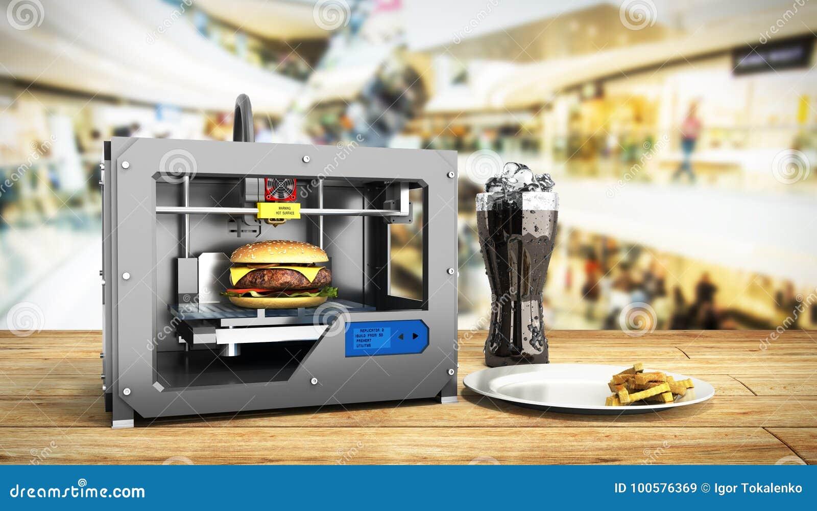 Druckburger 3d des Druckers 3D übertragen Erfolgslebensmittel-Muskatblütenkonzept