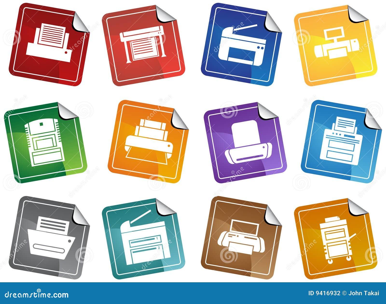 Drucker Tasten Aufkleber Vektor Abbildung Illustration