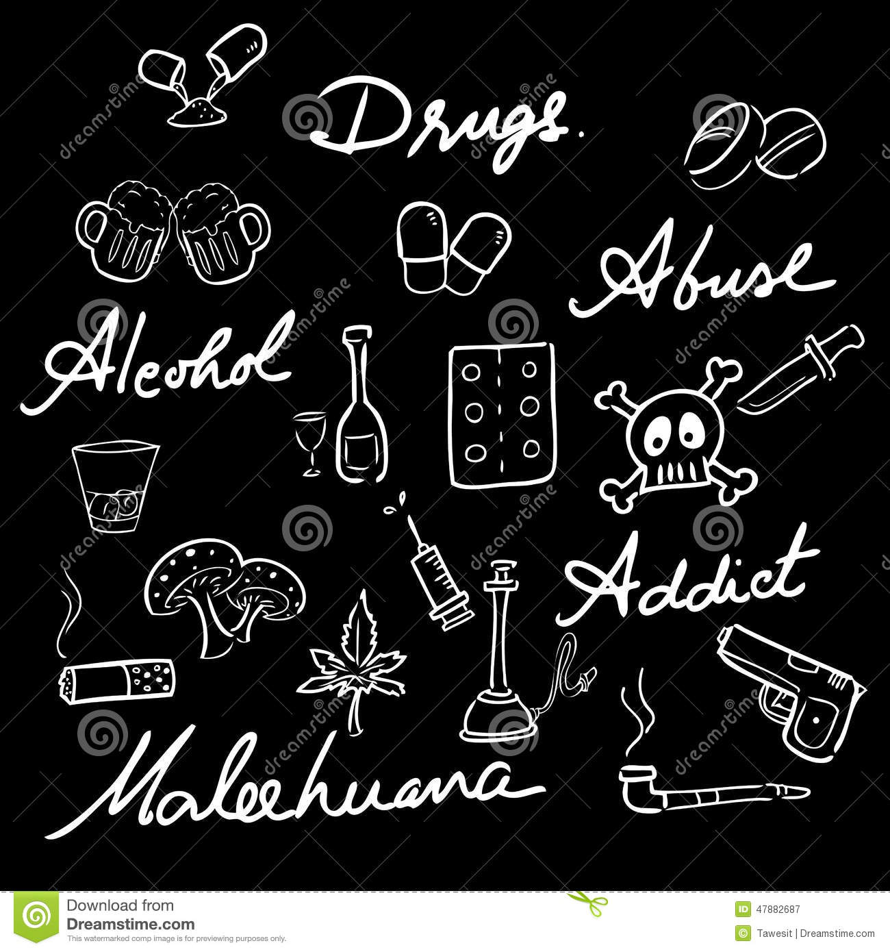 Drug Abuse Addict Icons Set Words Stock Vector - Image: 47882687