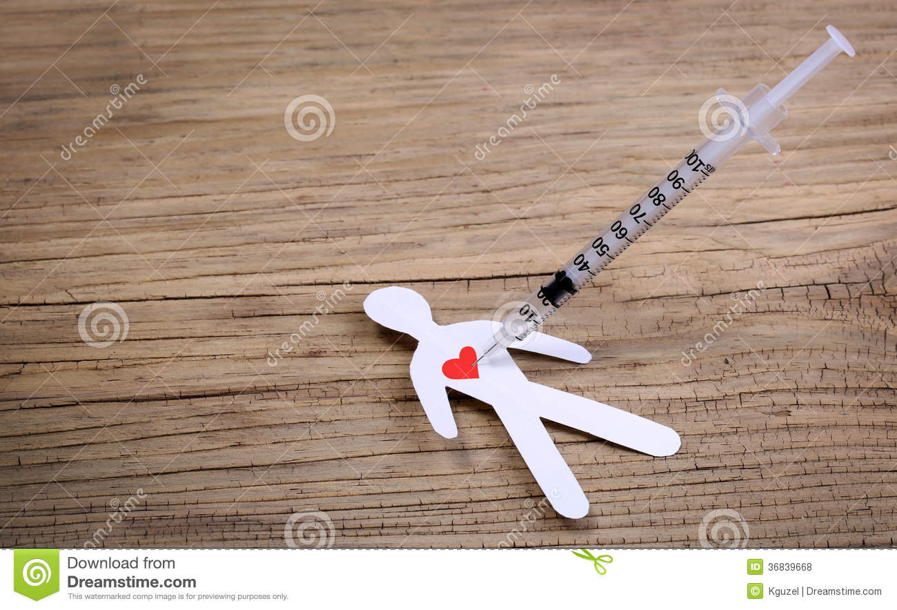 Drug Addiction Concept  Paper Man With Heart And Syringe