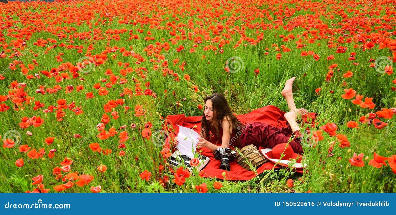 Drug, narcotics, opium, woman with typewriter, camera, book.