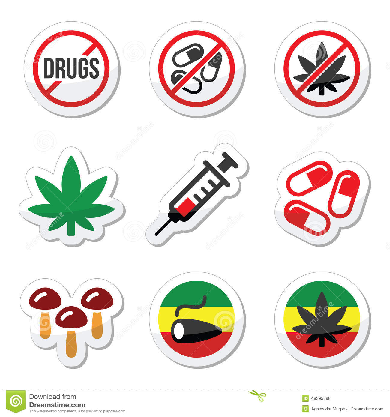 Drugs, Addiction, Marijuana, Syringe Colorful Labels Set Stock Photo ...