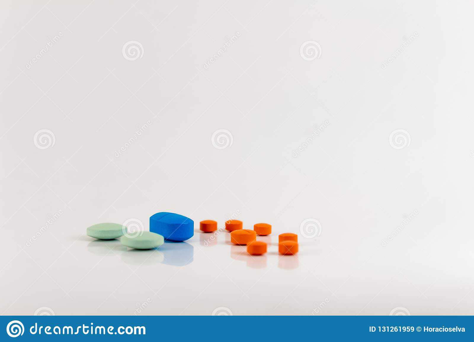 Drugs In The Form Of Pills Of Different Sizes, Shapes And