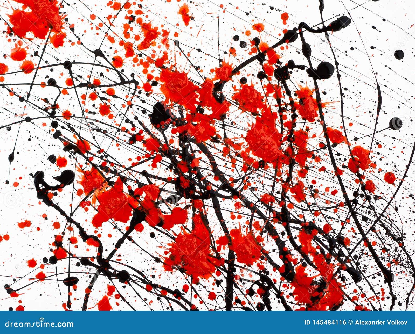 Druipende zwarte en rode die lijnverf op witte achtergrond wordt geïsoleerd Stromende stookolieplonsen, dalingen en sleep