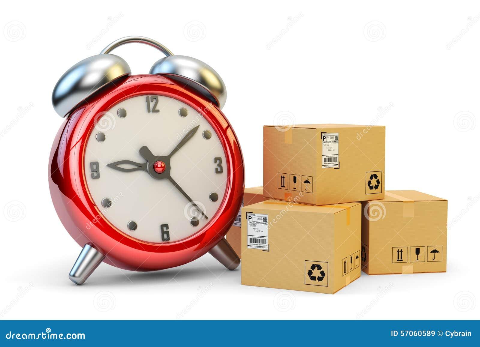Druk, net op tijd en de leveringsconcept van hoge snelheidspakketten uit