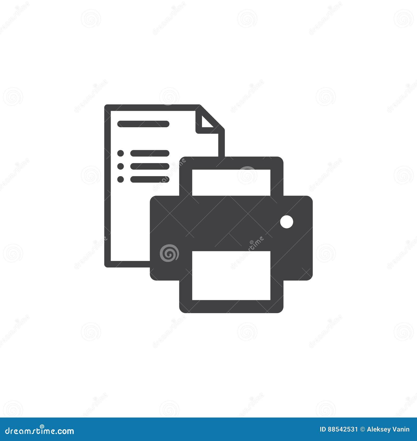 Drukarki i papierowego dokumentu ikony wektor, wypełniający mieszkanie znak, stały piktogram odizolowywający na bielu