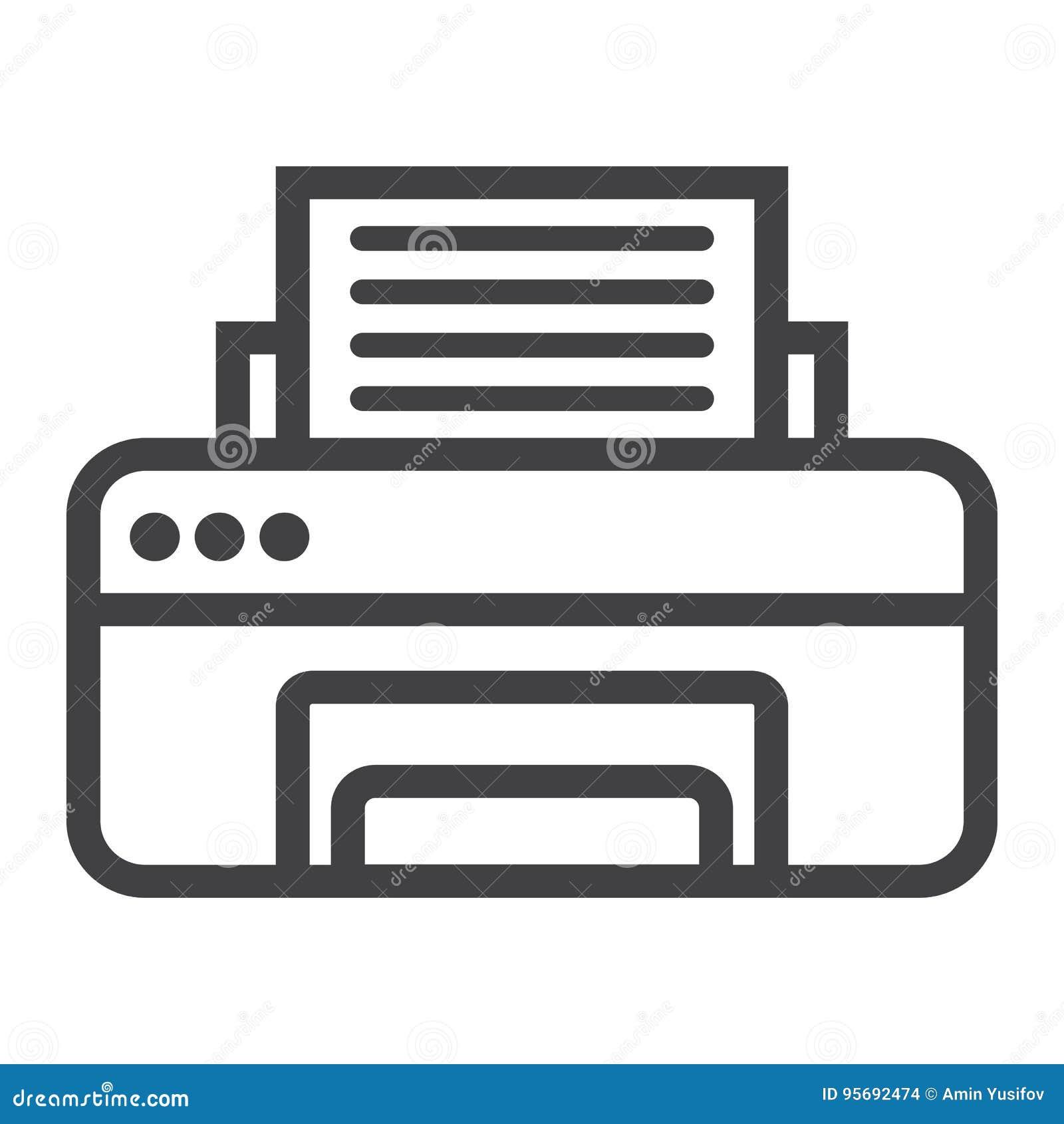 Drukarki kreskowa ikona, faks i biuro, wektor