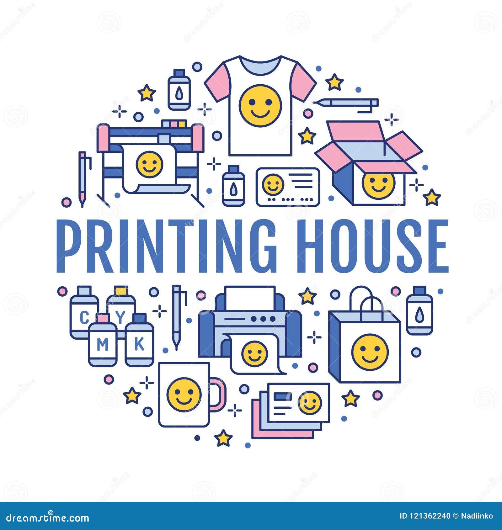 Drukowego domu okręgu plakat z mieszkanie linii ikonami Druku sklepu wyposażenie - drukarka, przeszukiwacz, kompensująca maszyna,