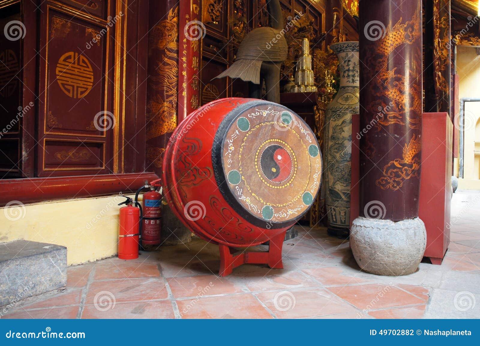 Drum in Bach Ma temple, Hanoi, Vietnam