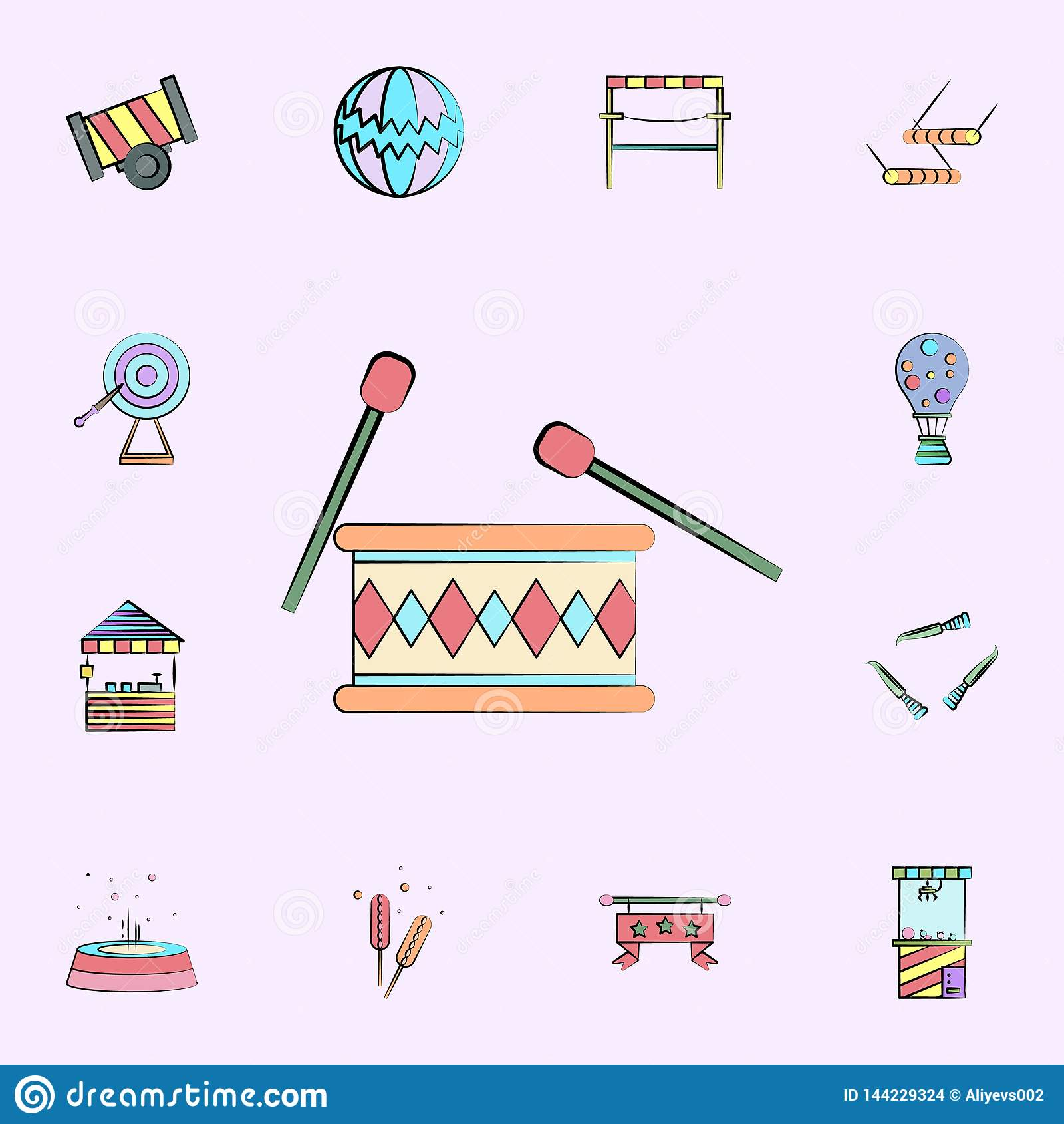 drum with chopsticks colored icon. circus icons universal set for web and mobile
