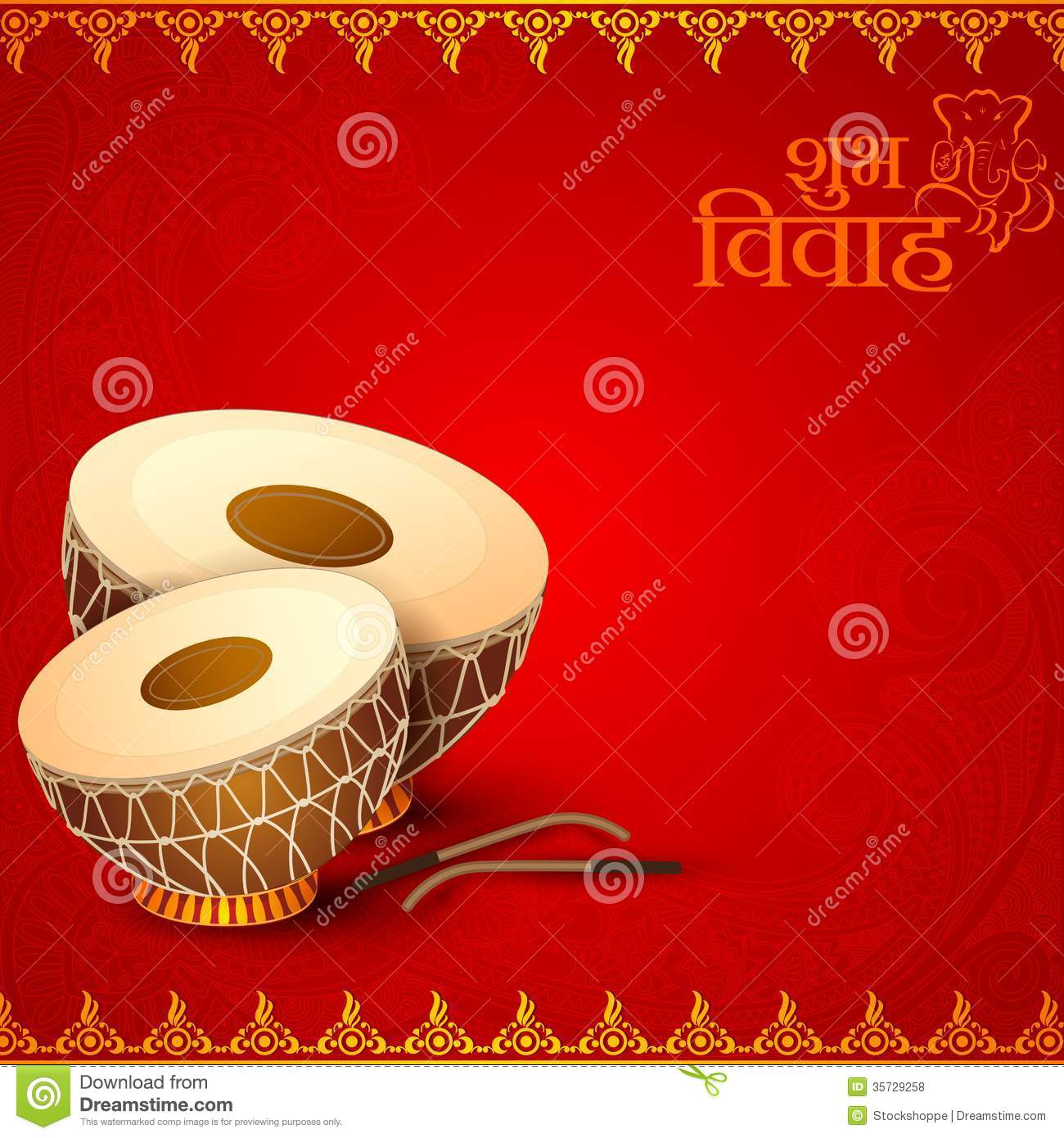 Drum In Indian Wedding Invitation Card Stock Vector Illustration