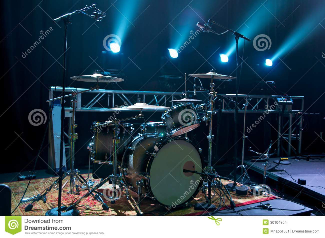 Drum Kit On Stage Stock Photo Image Of Backgrounds Metal 30104804