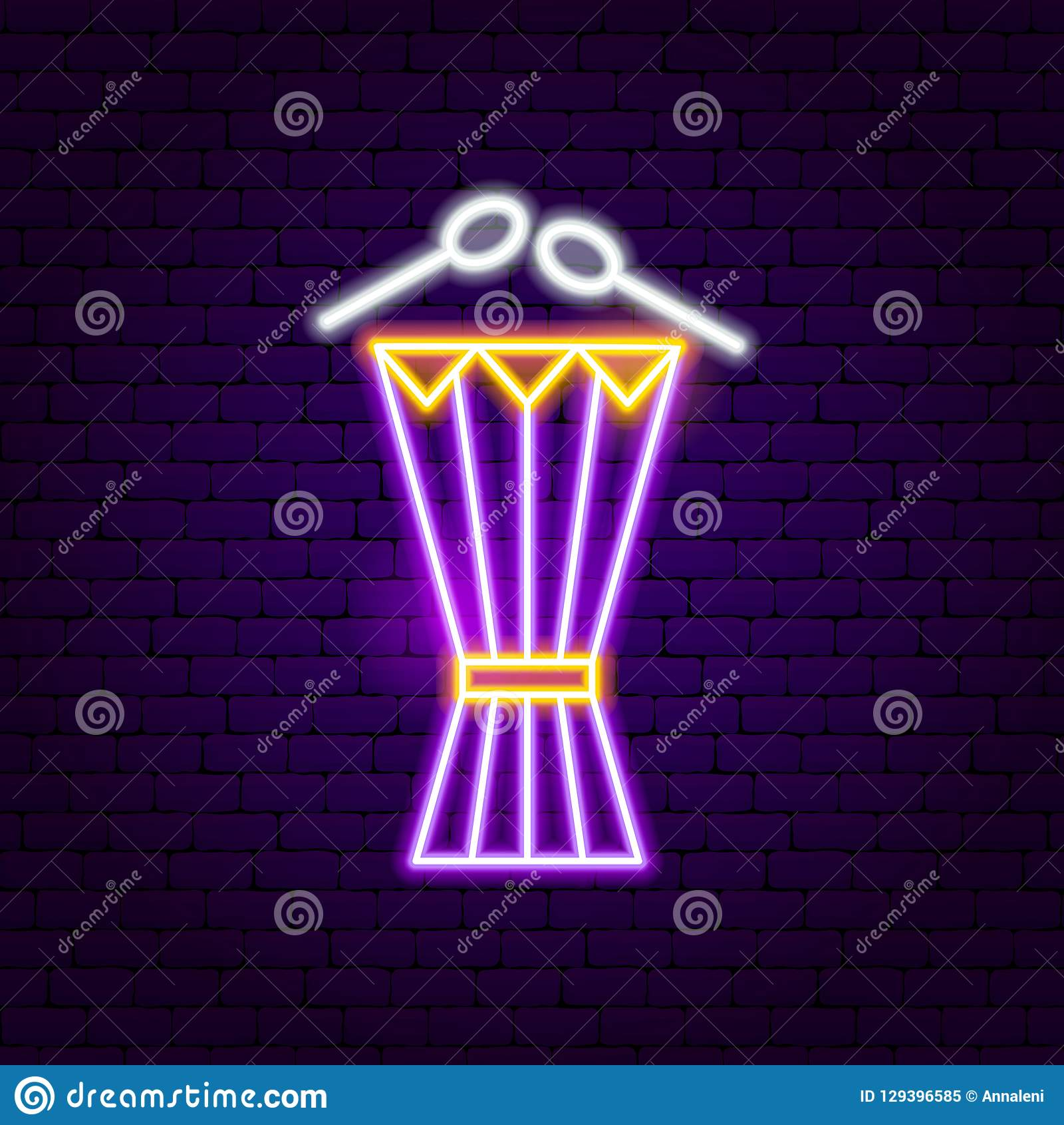 Drum Neon Sign stock vector  Illustration of icon, drums - 129396585