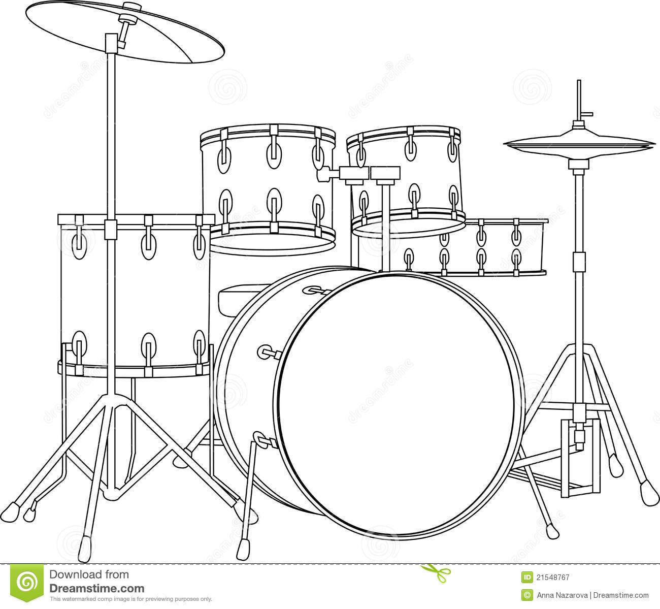 Drum Set Outline Drum Set Drawing Drum