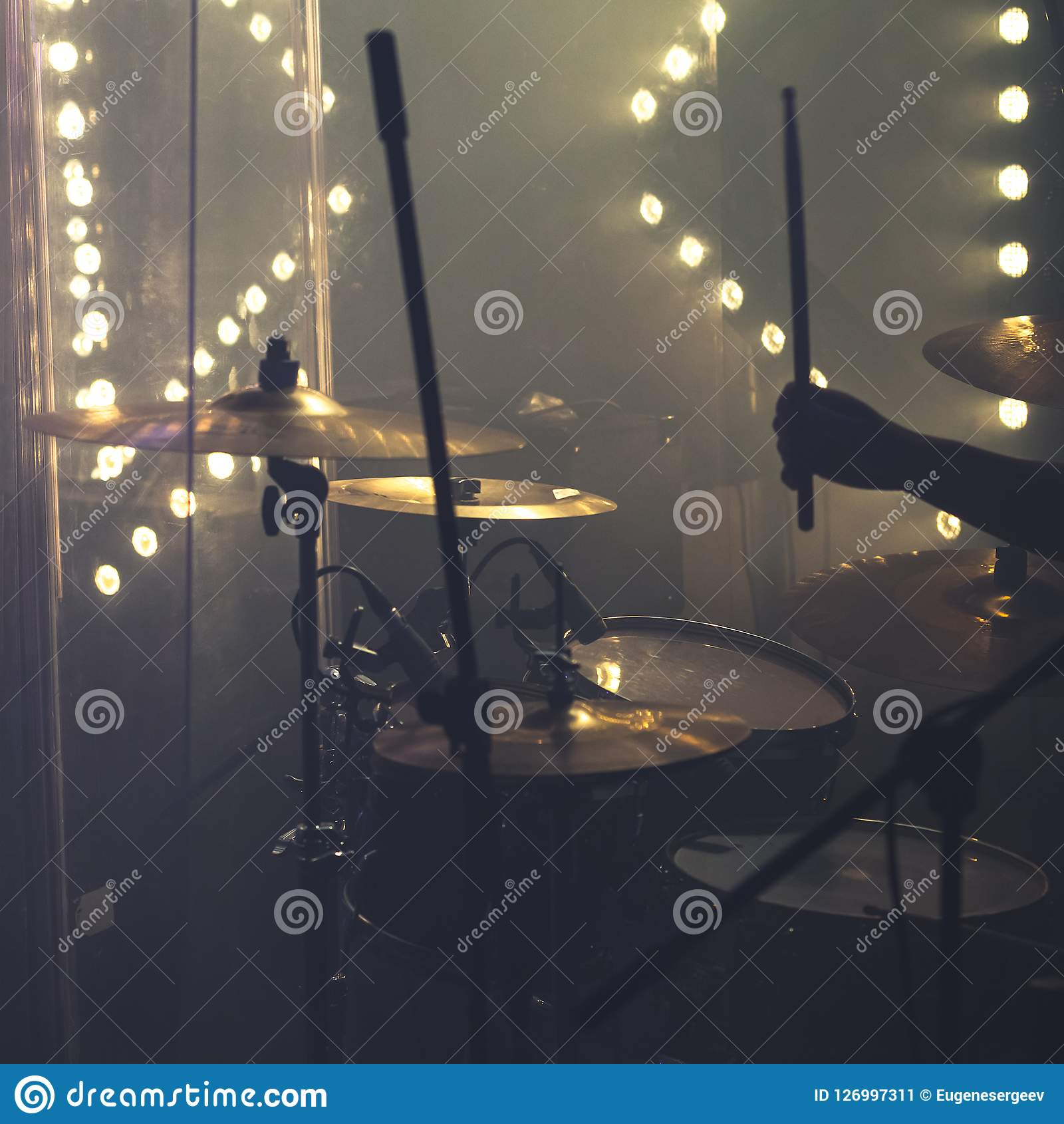 Drum Set With Cymbals And Drummer Hand Stock Image - Image