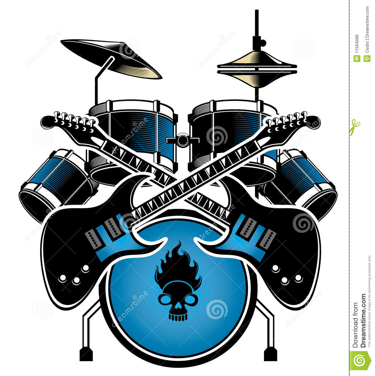 Drum Set Clipart Black And White Drum set and guitar royalty White Drum Set Silhouette