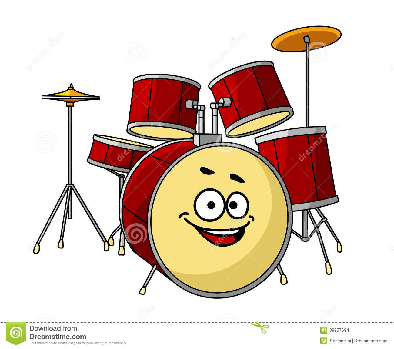 Drum Set Having A Big Happy Laughing Smile Stock Vector Image 39957694