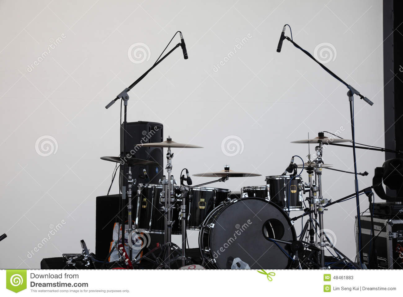 Drum Set With Microphone Stock Photo - Image: 48461883