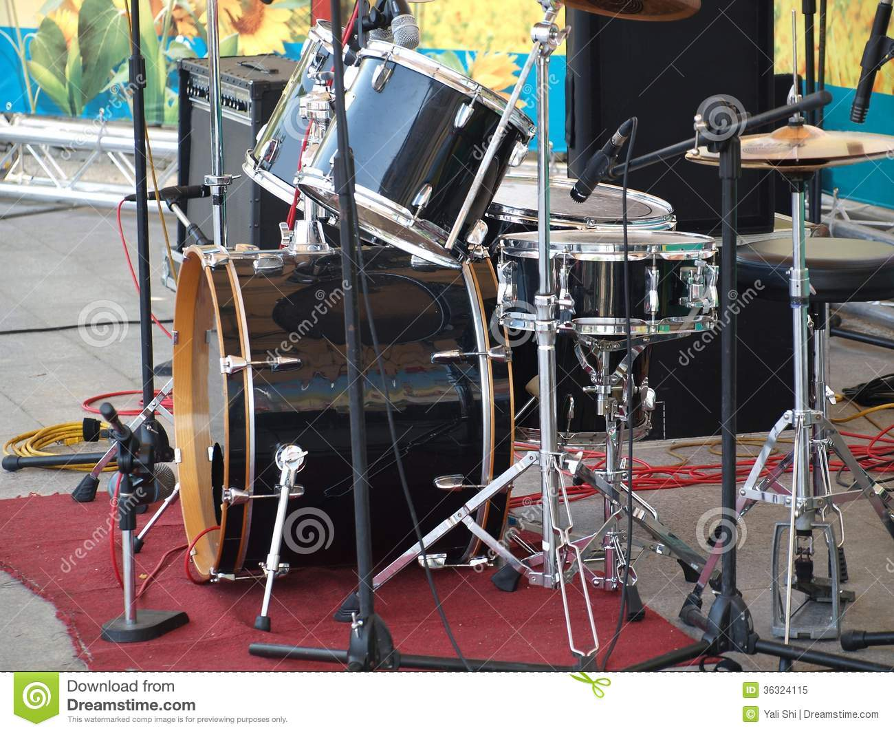 Drum Set And Microphones On A Stage Stock Image - Image ...