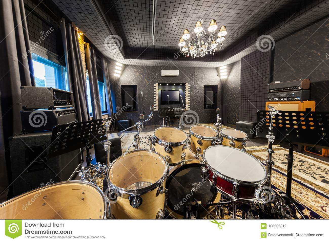 drum set in the music recording studio stock photo image of control console 103302812. Black Bedroom Furniture Sets. Home Design Ideas