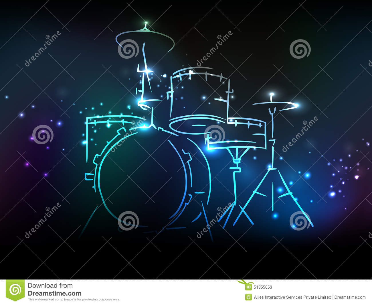 Drum set with neon effect for music concept stock for House music set