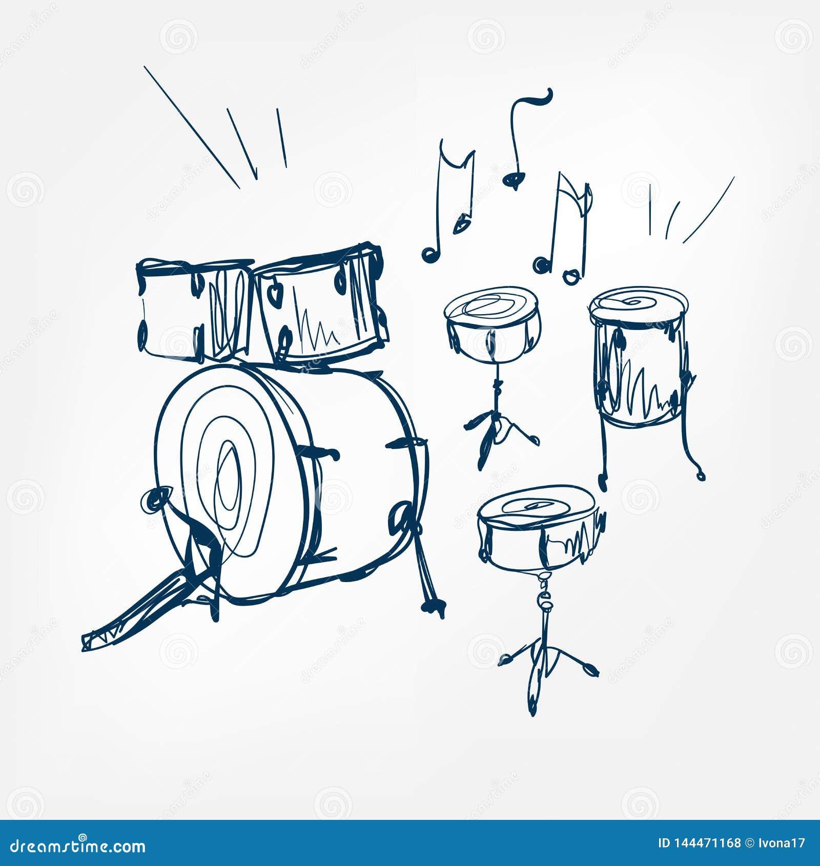 Drum set sketch vector illustration isolated design element