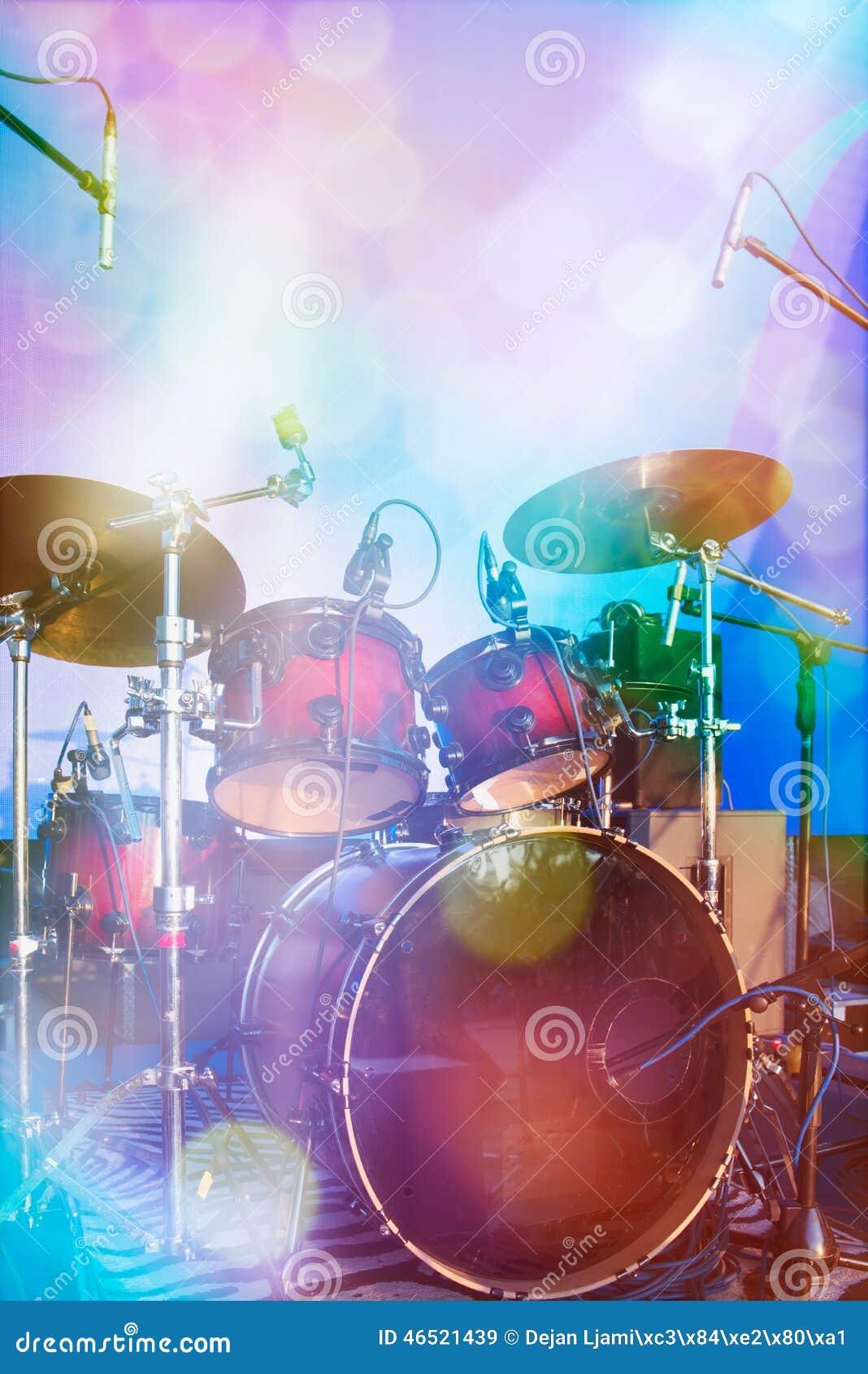 Drum Set On Stage Stock Photo 46521439 Megapixl