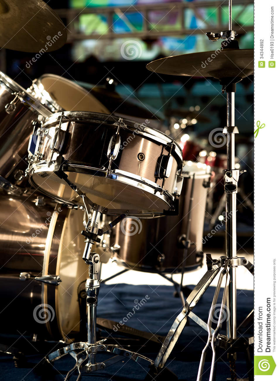 Drum Set On Stage Stock Photo Image Of Snare Life Drum 34344892